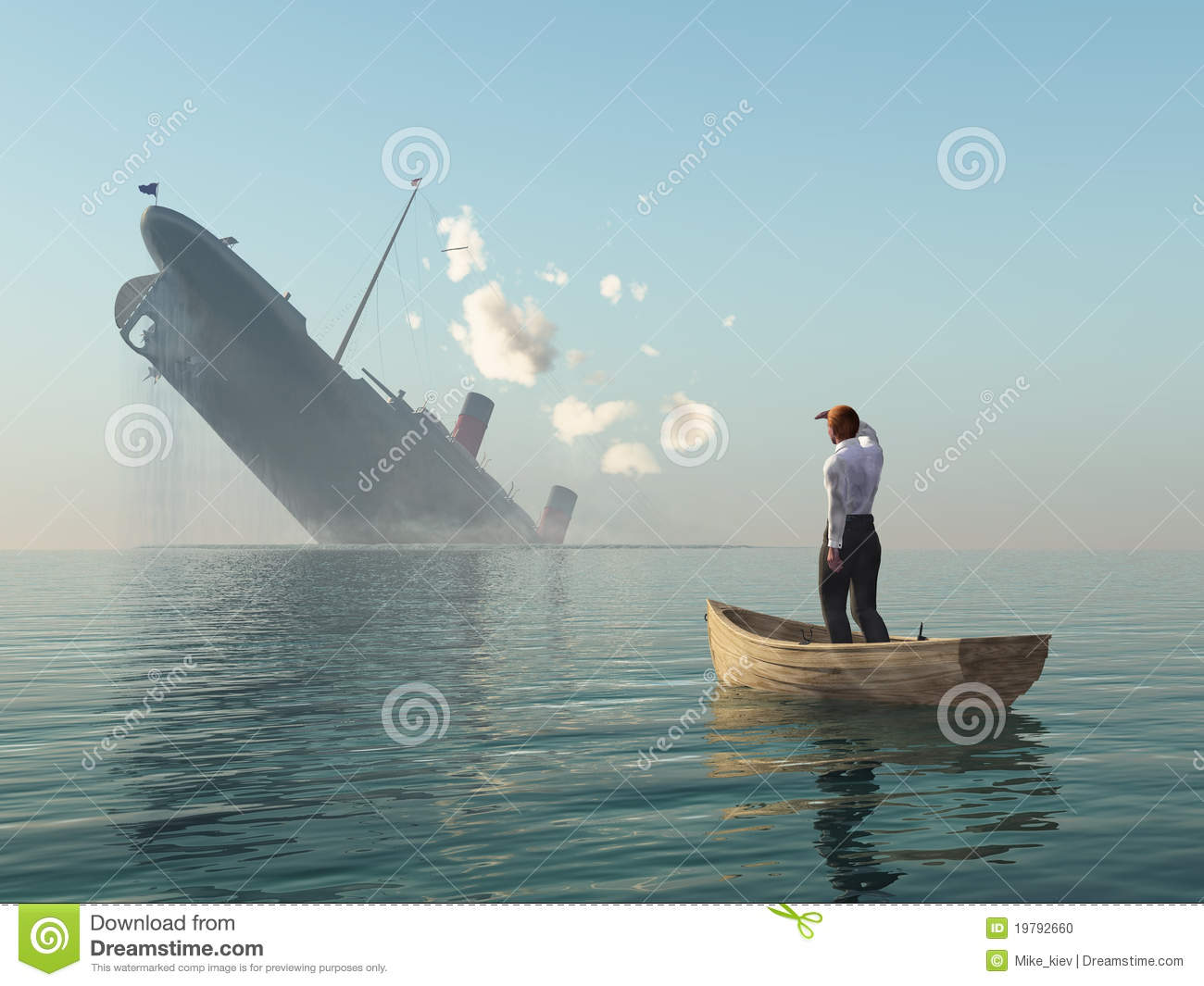 Man in boat looking on shipwreck