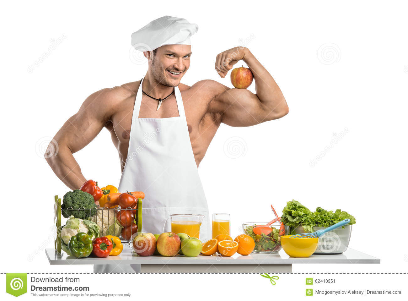 Man bodybuilder cook stock image. Image of diet