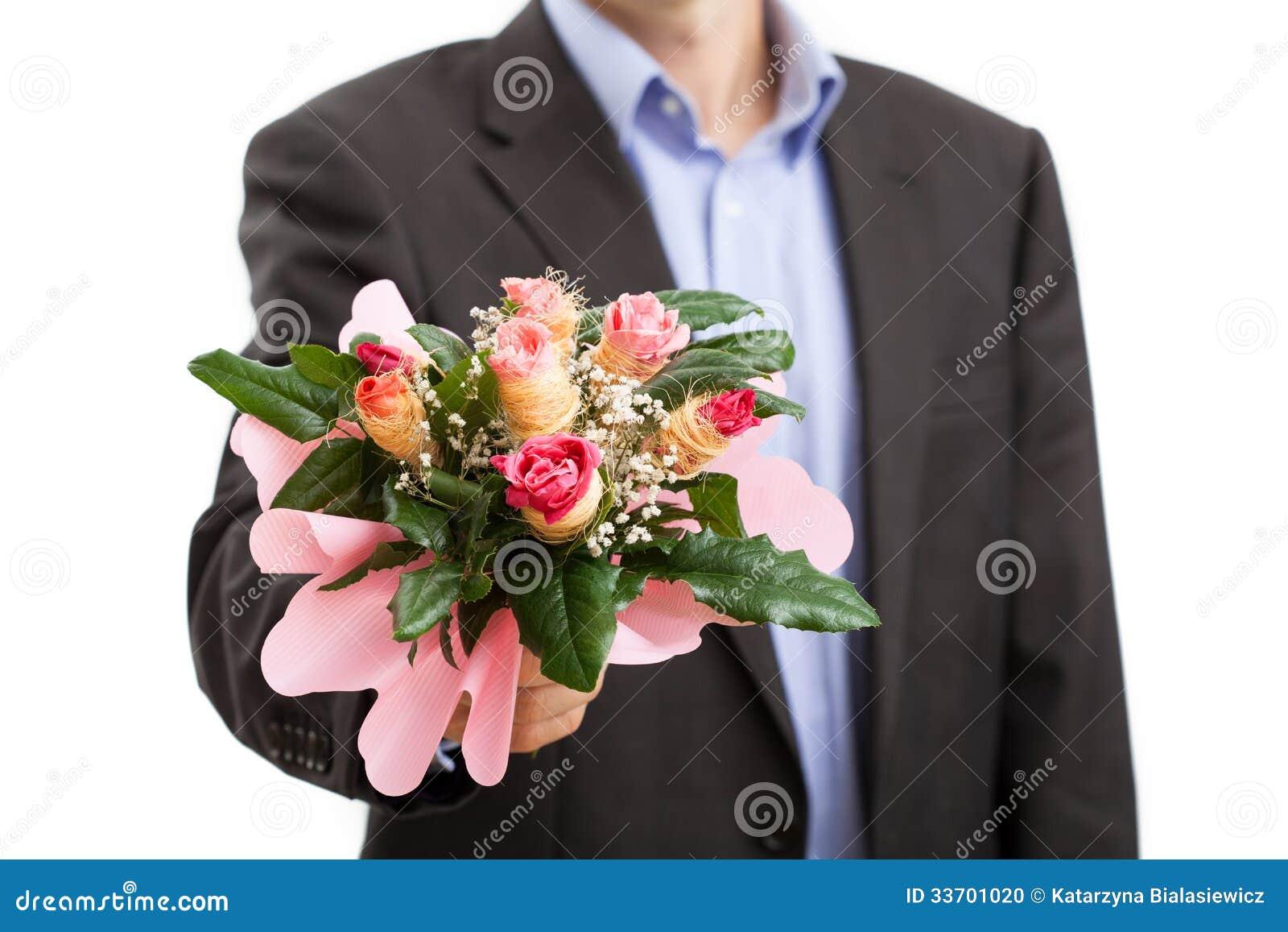 Man with bouquet of flowers stock photo image 33701020 for Bouquet de fleurs homme