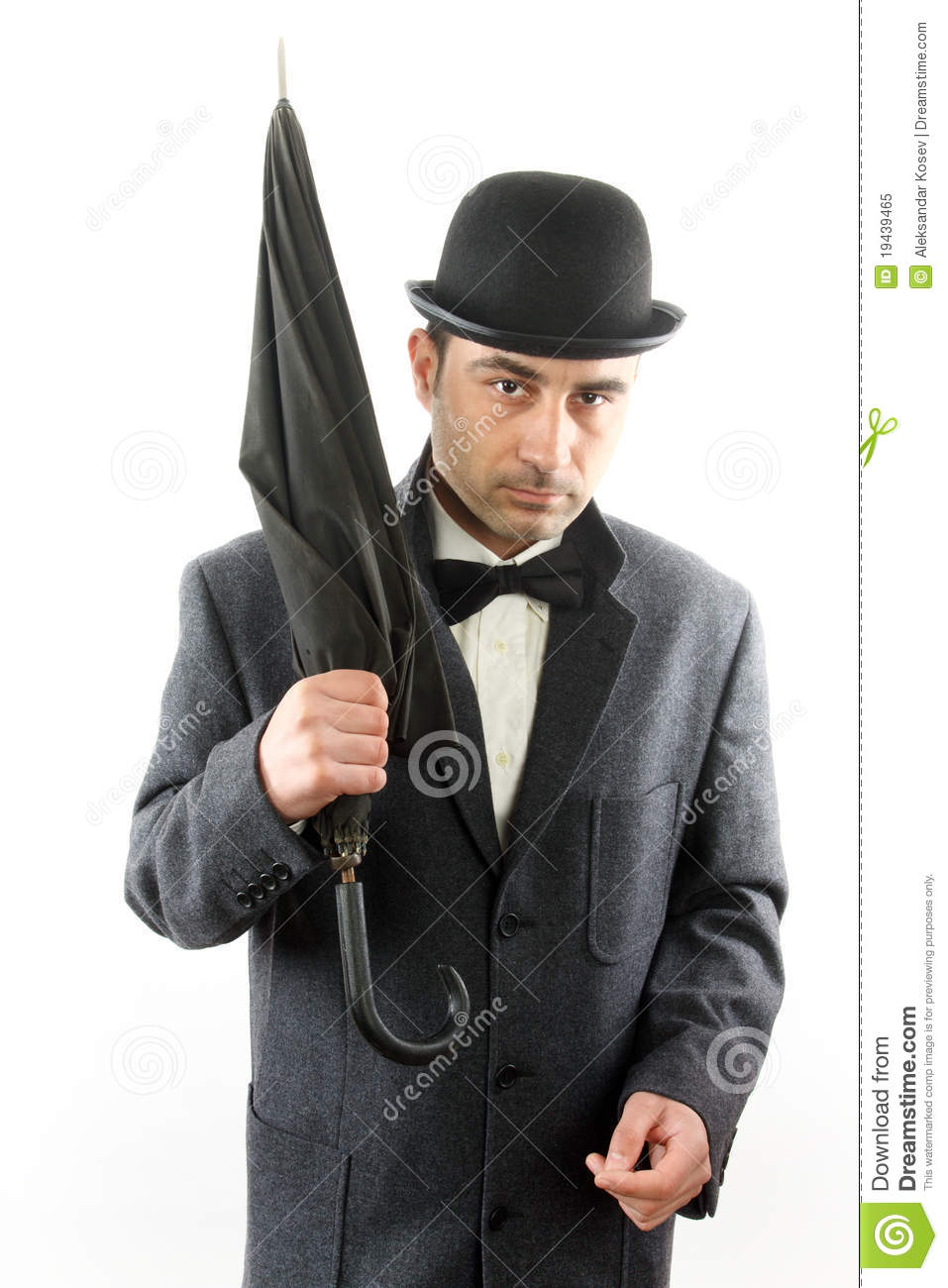 Man With Bowler Hat And An Umbrella Royalty Free Stock