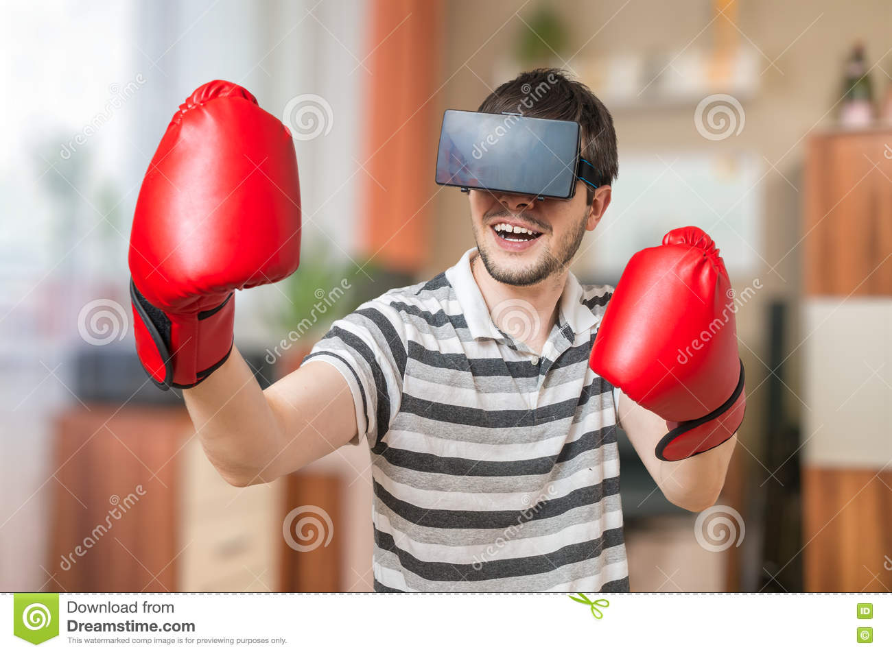 ca15b6f8f5ab Man Is Boxing In 3D Virtual Reality Video Game With Vr Headset Stock ...