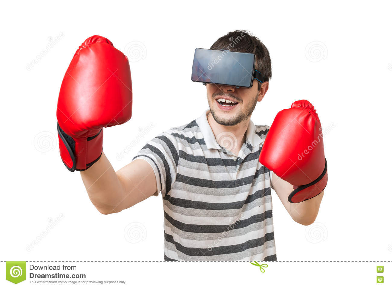 7ee472904143 Man Is Boxing In 3D Virtual Reality Video Game With Vr Headset ...