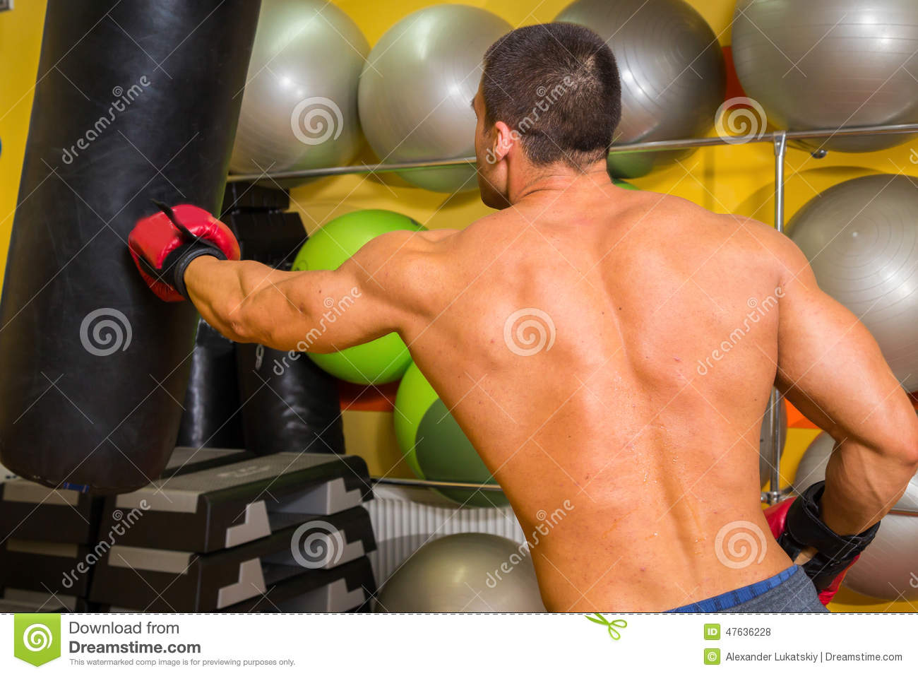 The Man In Boxing Gloves Stock Photo - Image: 47636228