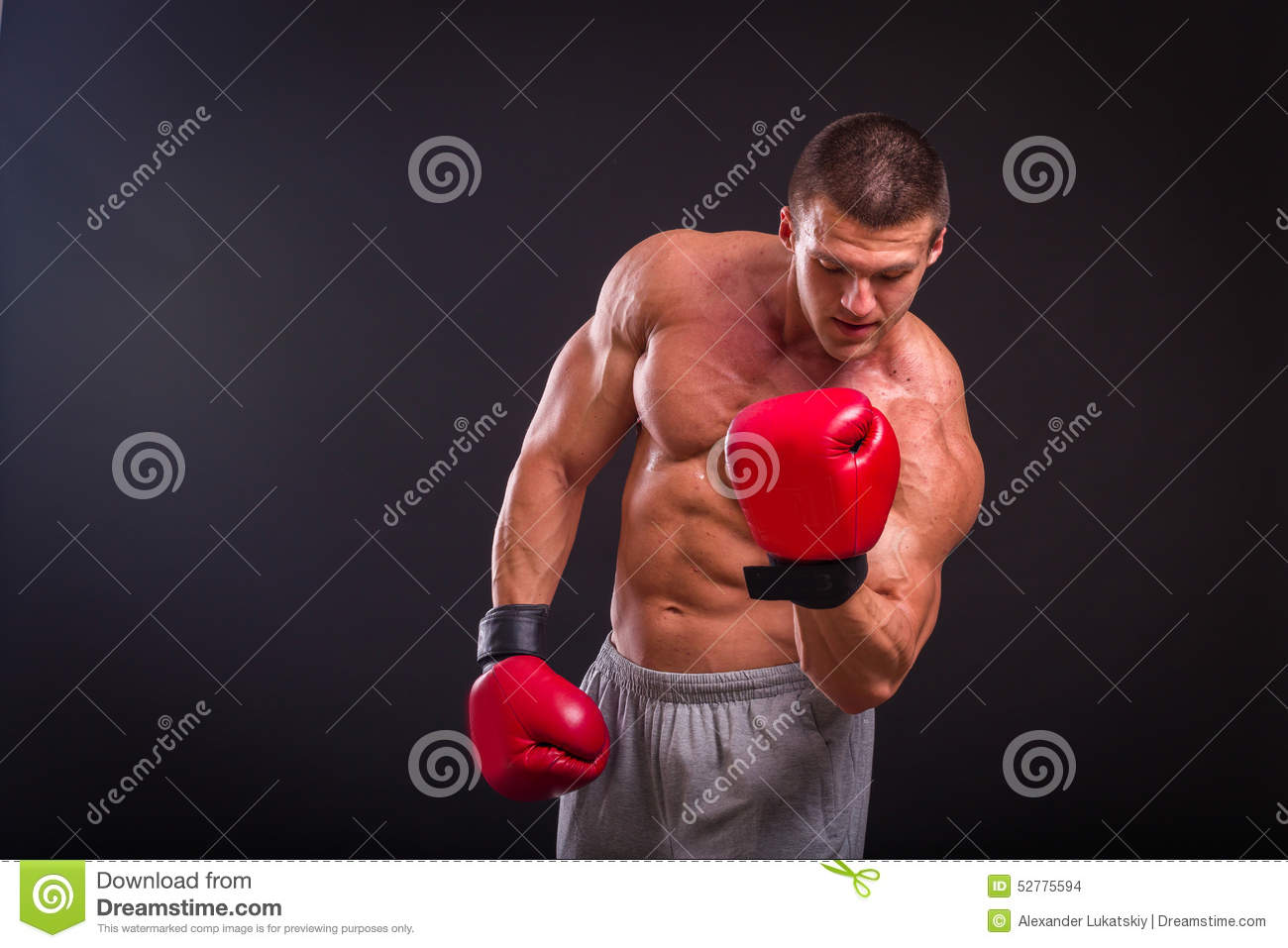 The man in boxing gloves stock photo  Image of fitness