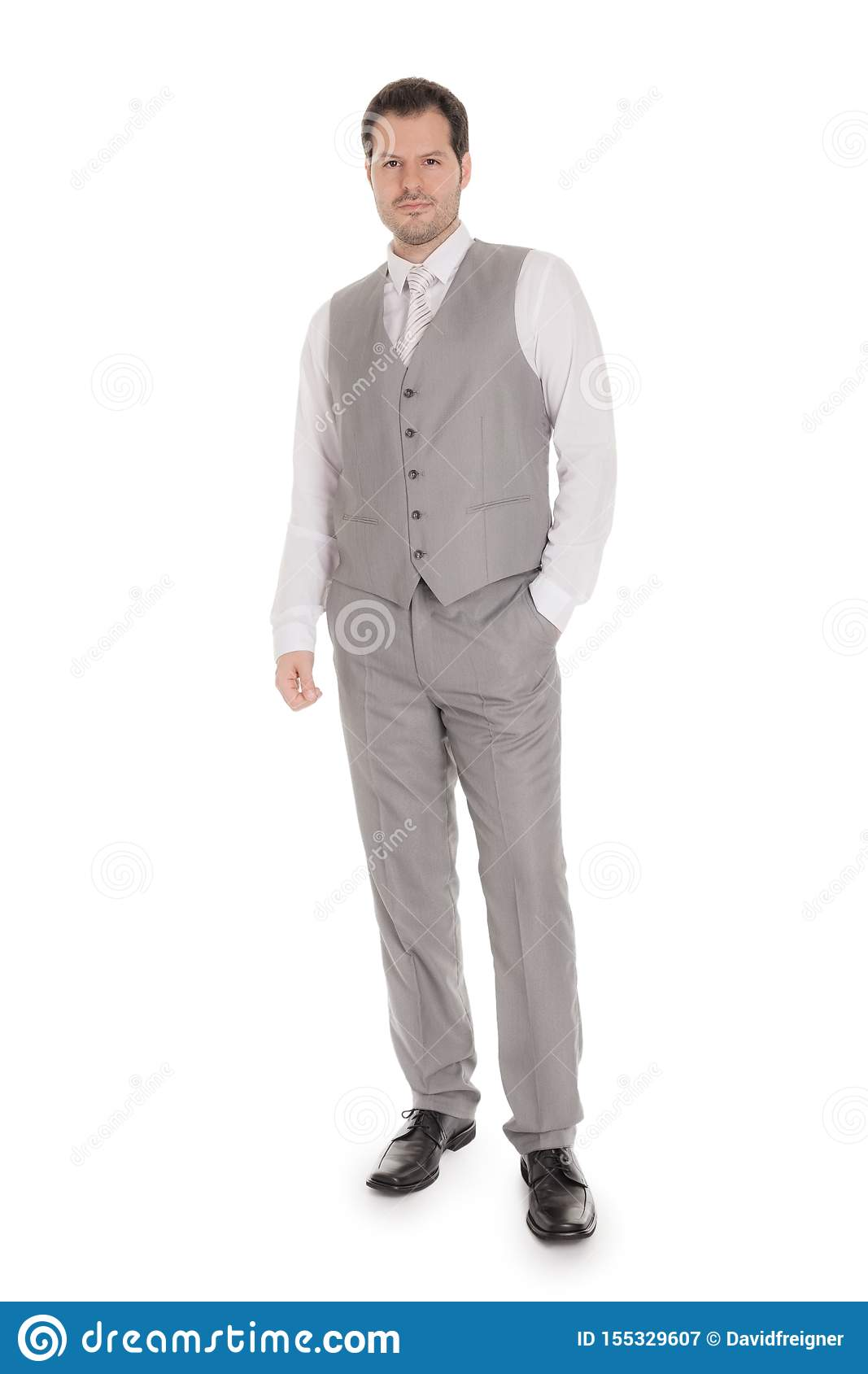 Man with bright grey suit isolated on white background. Business and wedding concept