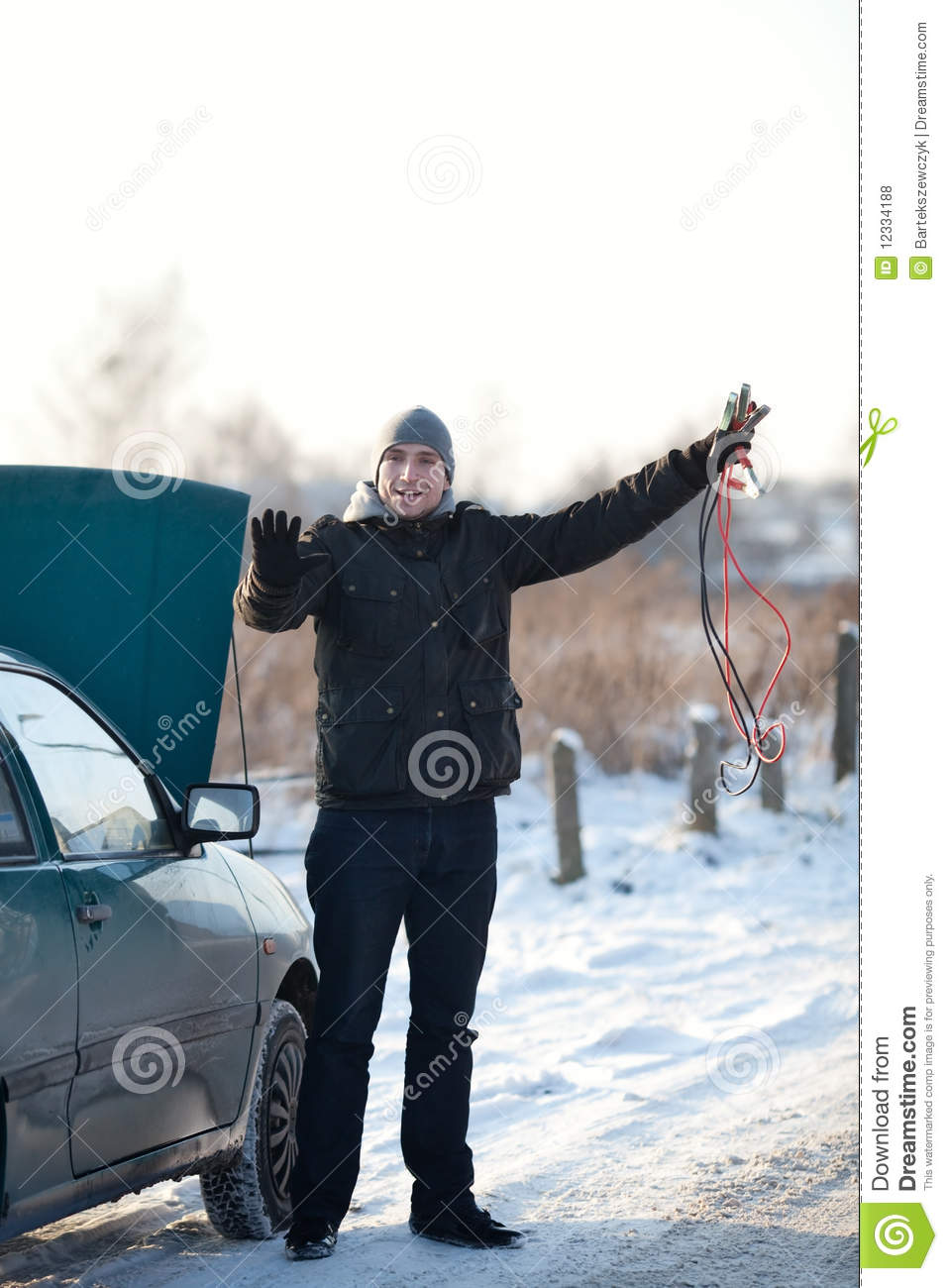 Broken Down Abandoned Stock Photos Broken Down Abandoned: Young Man In Snow With Broken Down Car Stock Photography