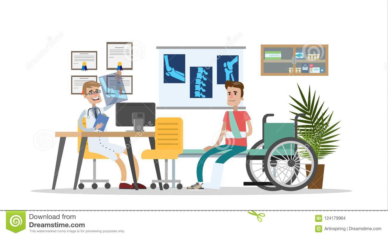 Man With Broken Leg And Arm With Trauma Surgeon Stock Vector Illustration Of Consulting Medic 124179964