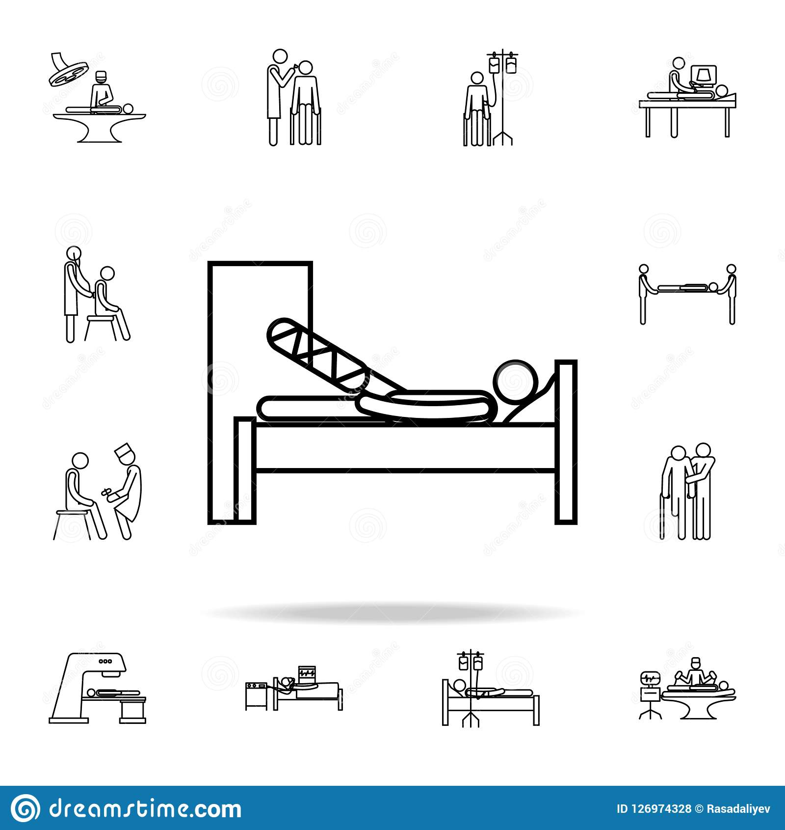 a man with broken leg icon  medicine icons universal set for web and mobile