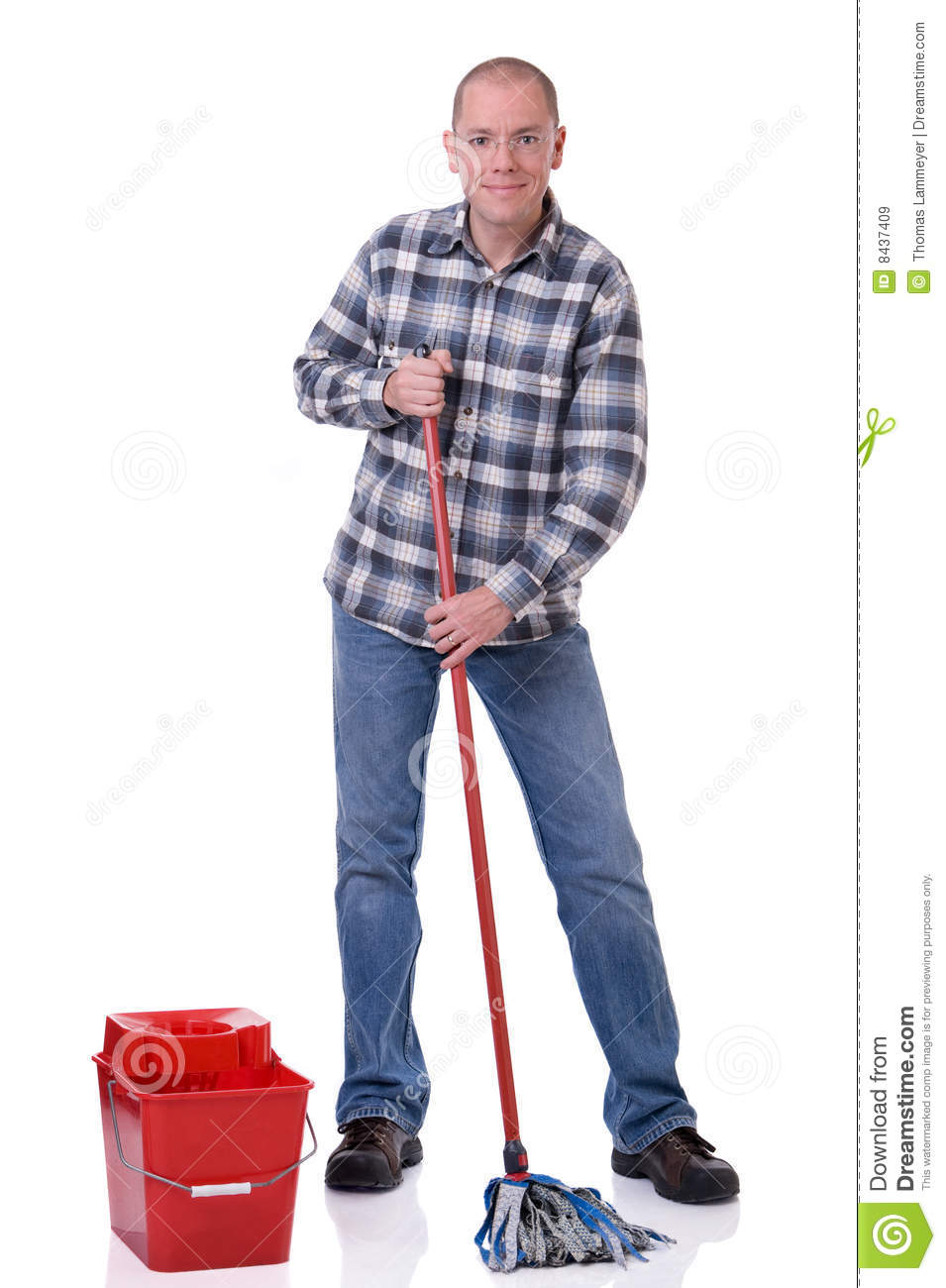 Man With Bucket And Mop Stock Image Image Of Bucket