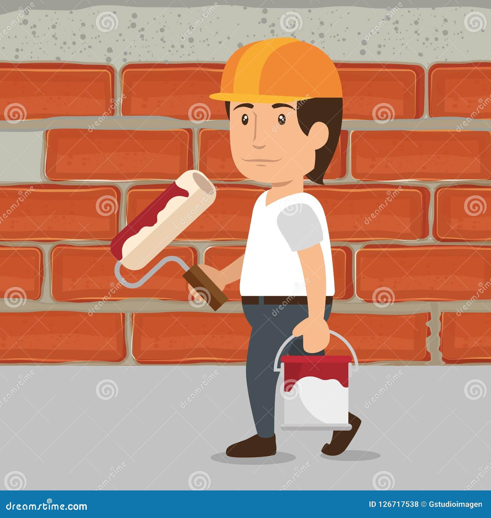 Man builder character working. Vector illustration design Stock Illustration