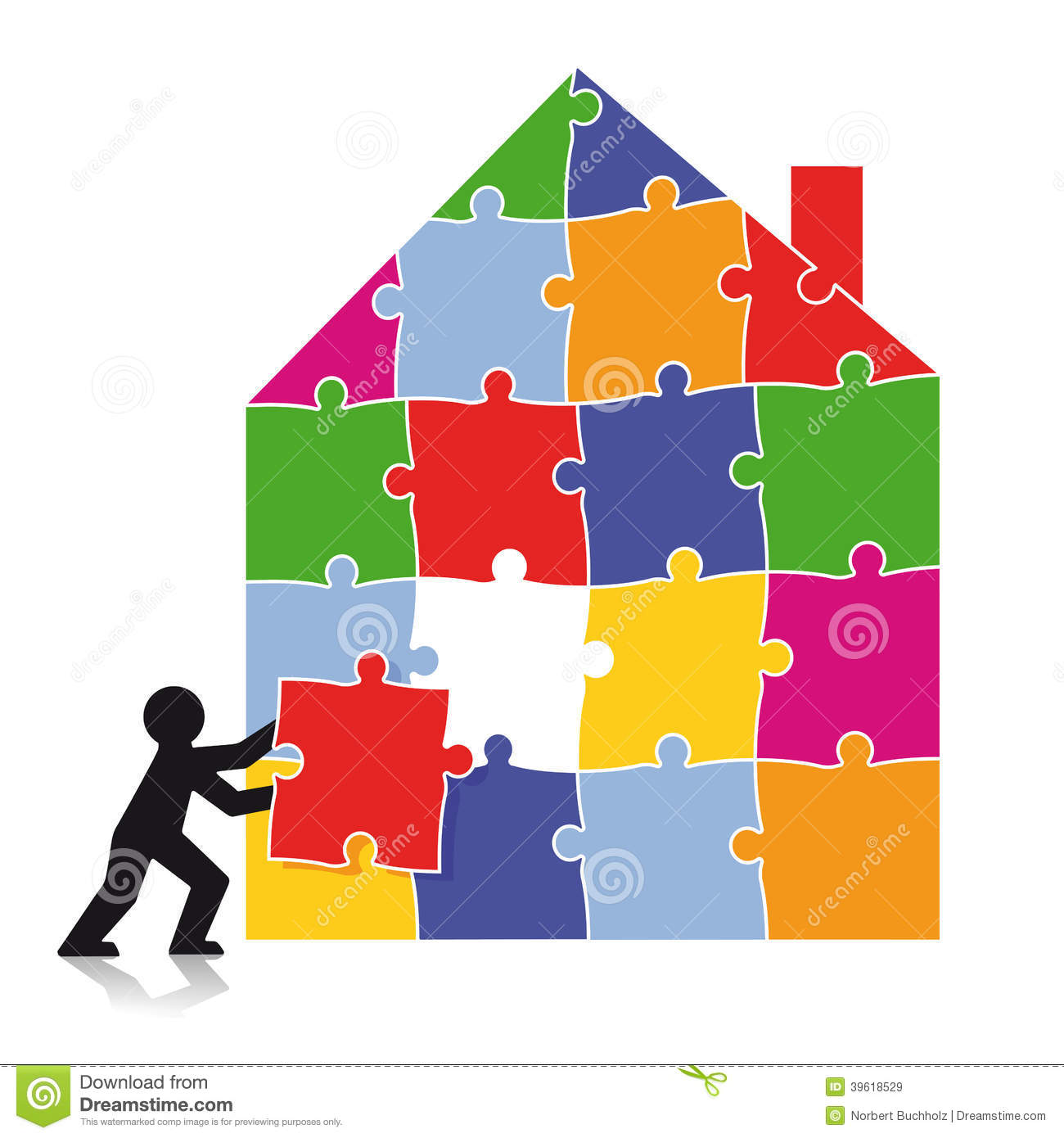 Man Building House Of Puzzle Pieces Stock Photo Image