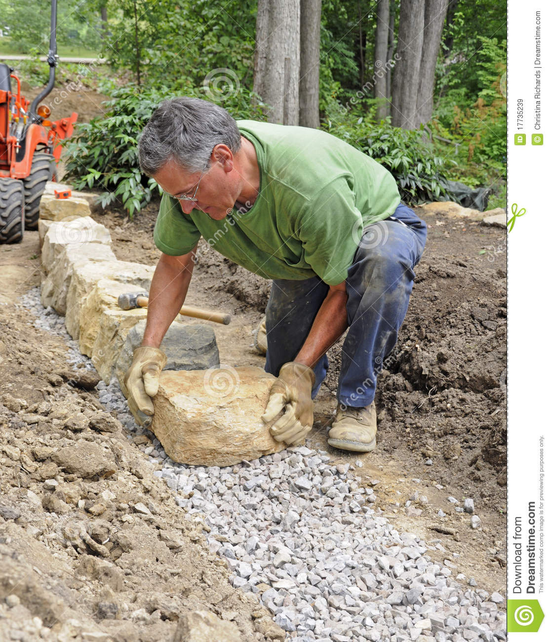 Man Building Stone Wall Royalty Free Stock Images - Image: 17735239