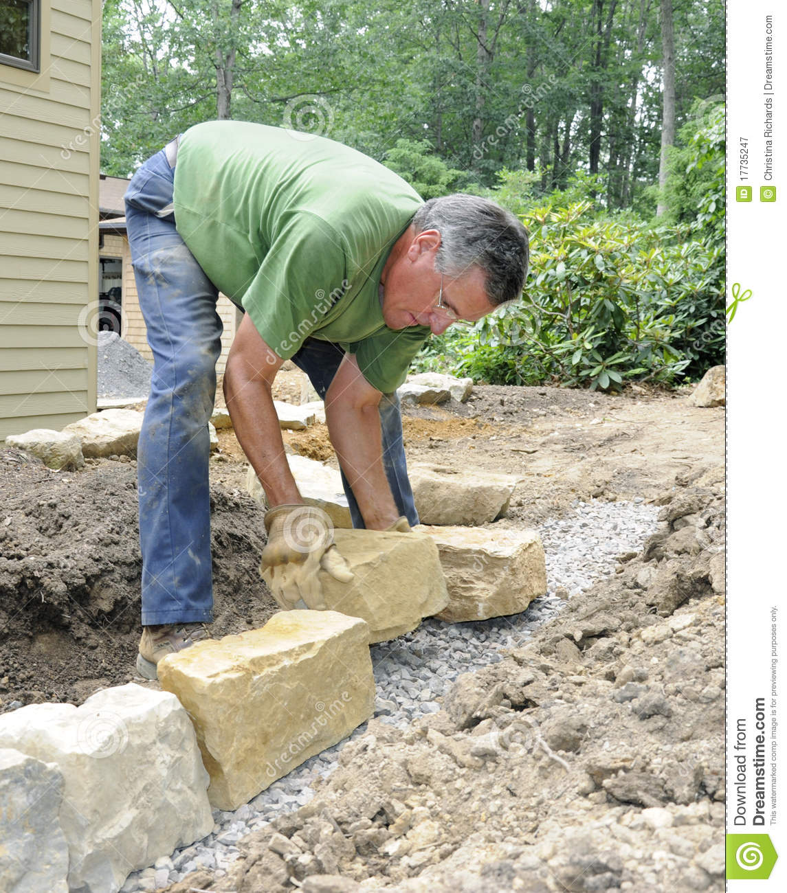 Man Building Stone Wall Royalty Free Stock Photography - Image ...
