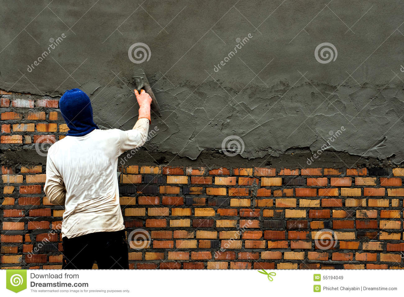Man Building Wall Stock Image Of Cement House