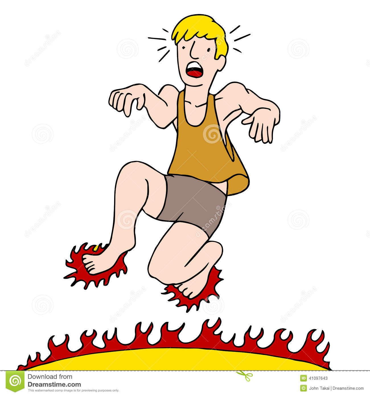 man burning feet on hot surface stock vector image 41097643 Confused Clip Art Clip Art Weight Gain