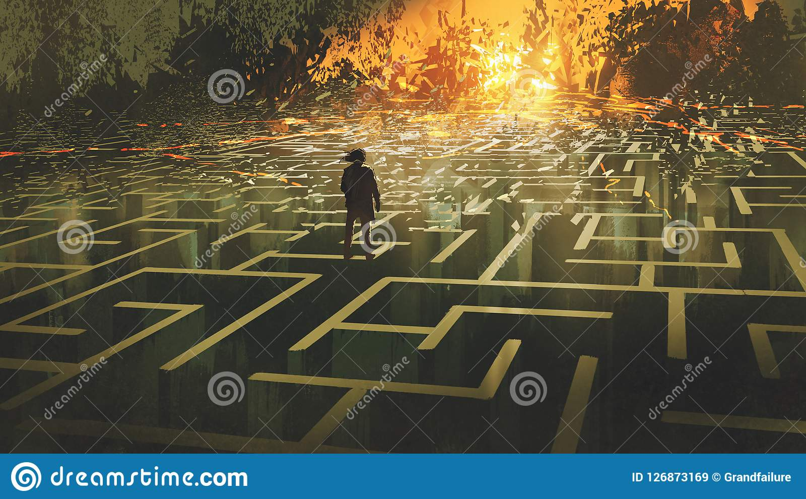 The man in a burnt labyrinth land