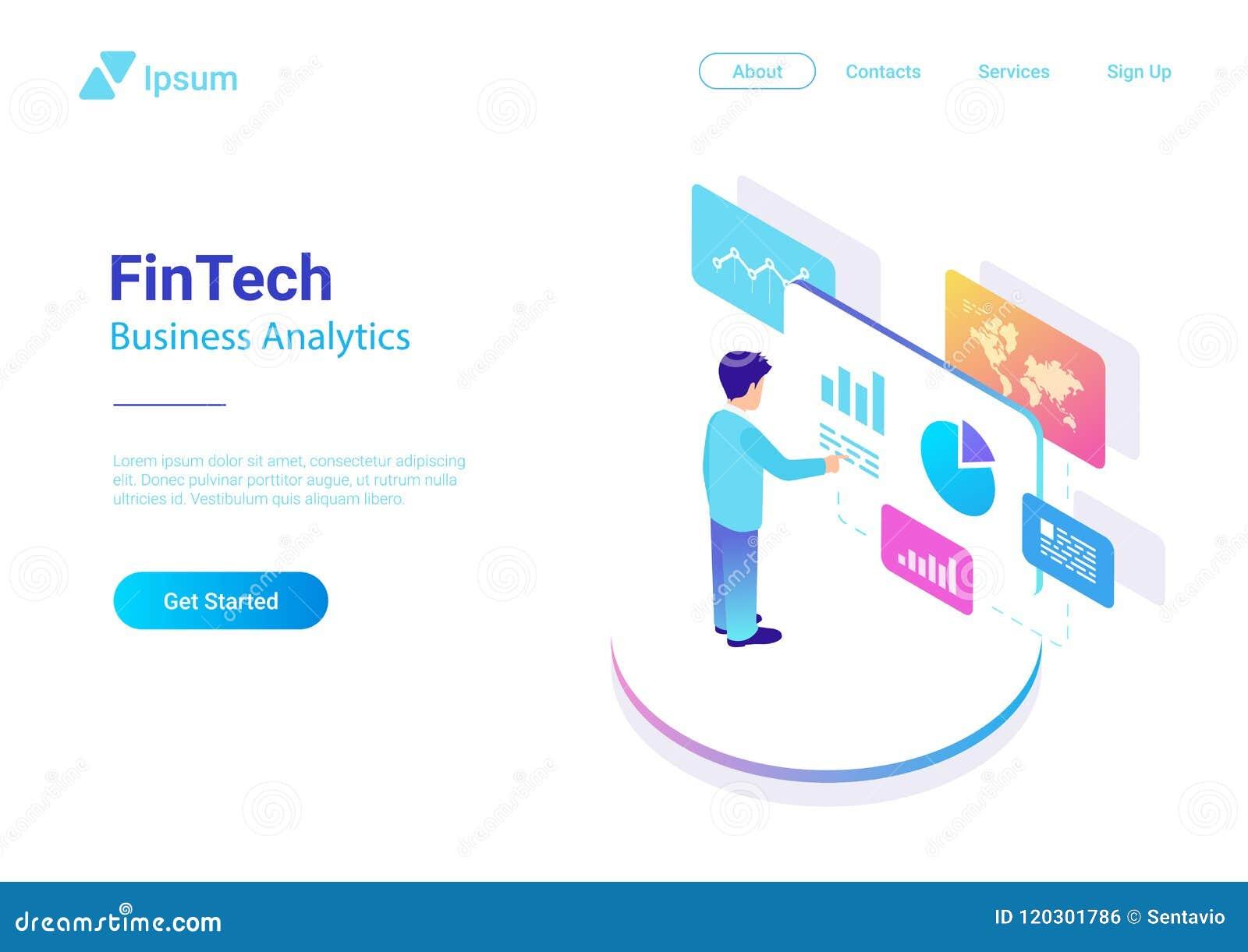 Man Business Analyse Data Market Virtual isometric