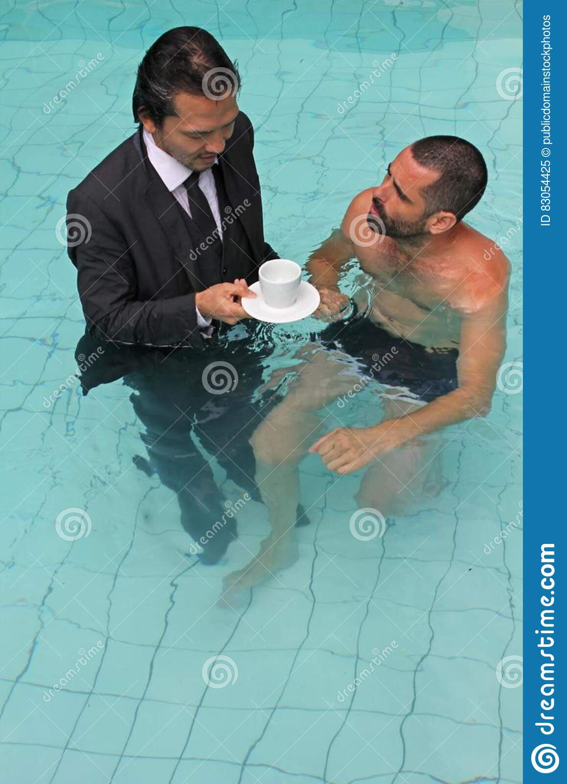Man In Business Suit With Coffee In Swimming Pool Picture ...