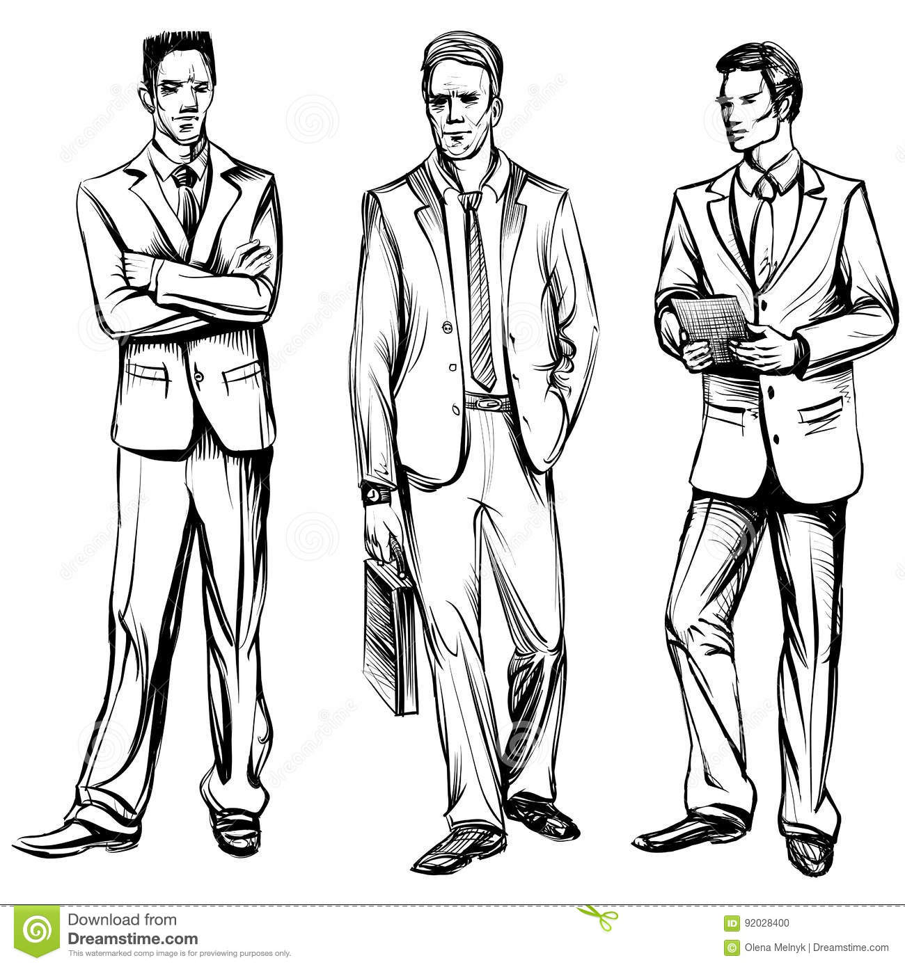 Man in business suit vector sketch