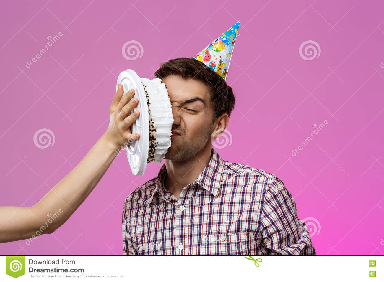 Man With Cake On Face Over Purple Background Birthday