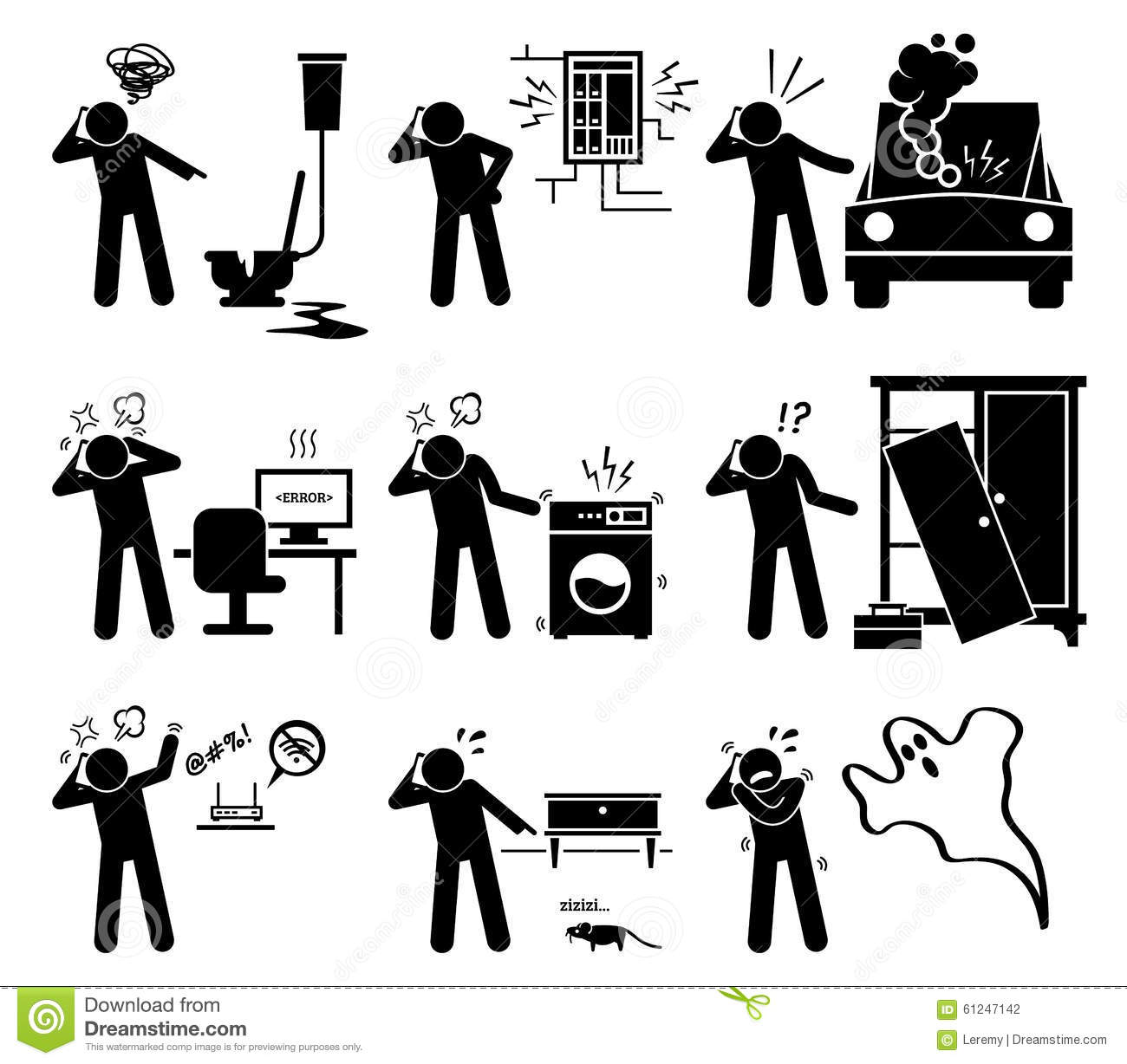 man calling with phone for household problems clipart. Black Bedroom Furniture Sets. Home Design Ideas