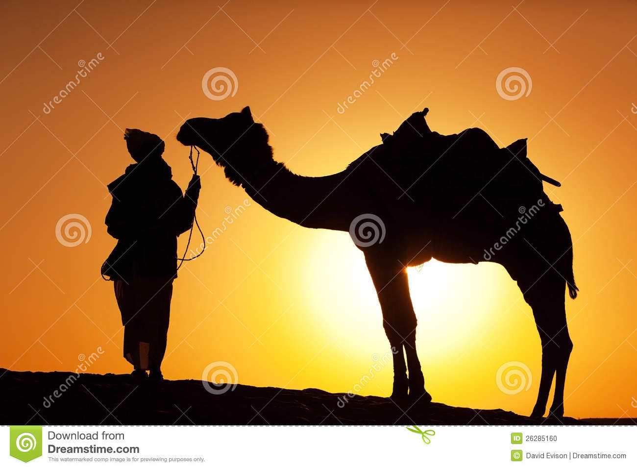 Man and camel silhouette