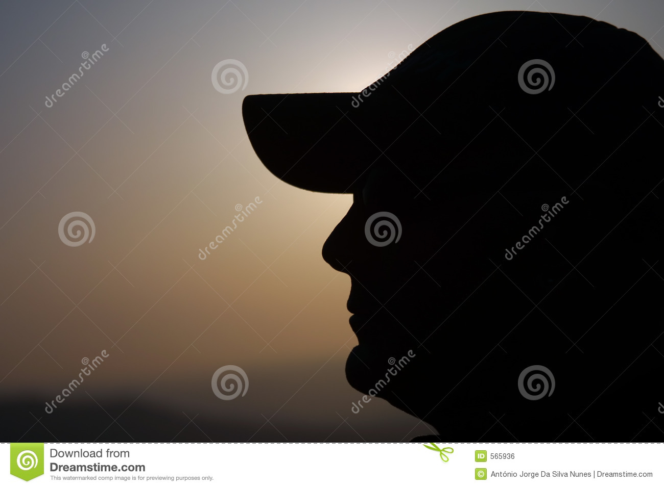Man with cap silhouete