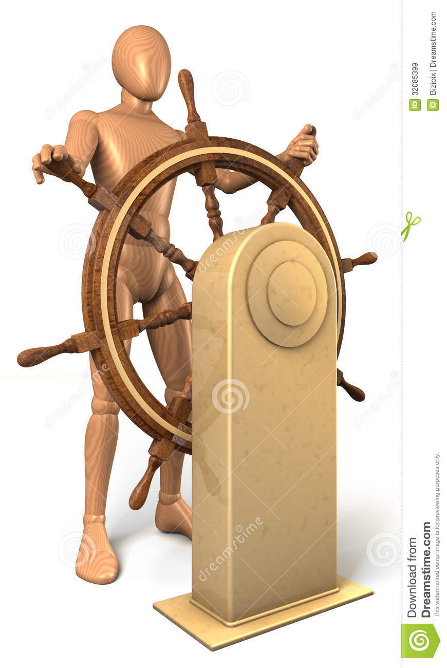 Man, Captain Turning Steering Wheel In Shape Of Euro Coin Royalty Free Stock Images - Image ...