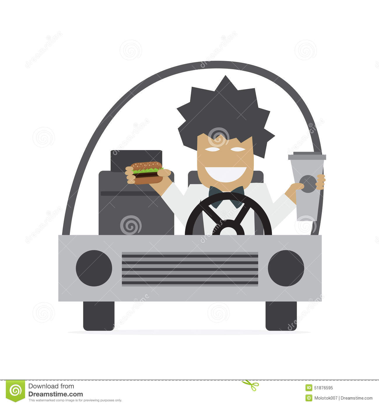 Driver Eating Burger In The Car Royalty-Free Stock