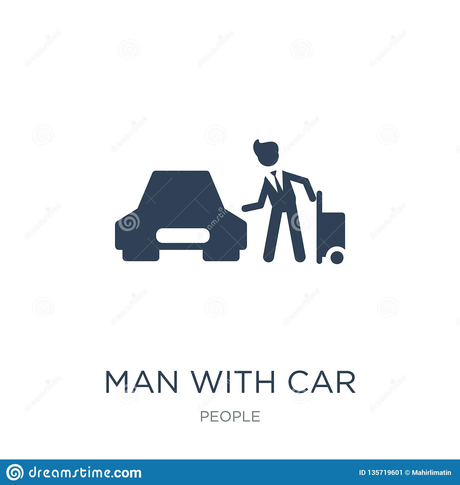 man with car and suitcase icon in trendy design style. man with car and suitcase icon isolated on white background. man with car