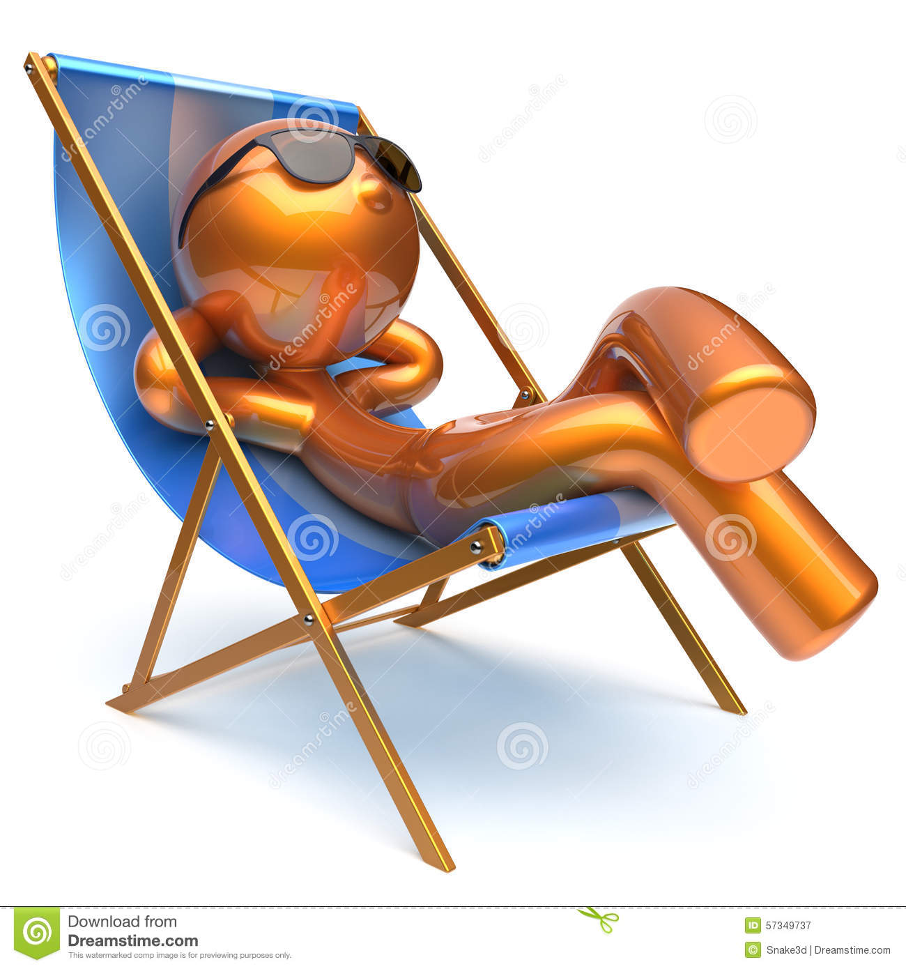 Man Carefree Relaxing Chilling Beach Deck Chair Outdoor Icon Stock Illustration Image