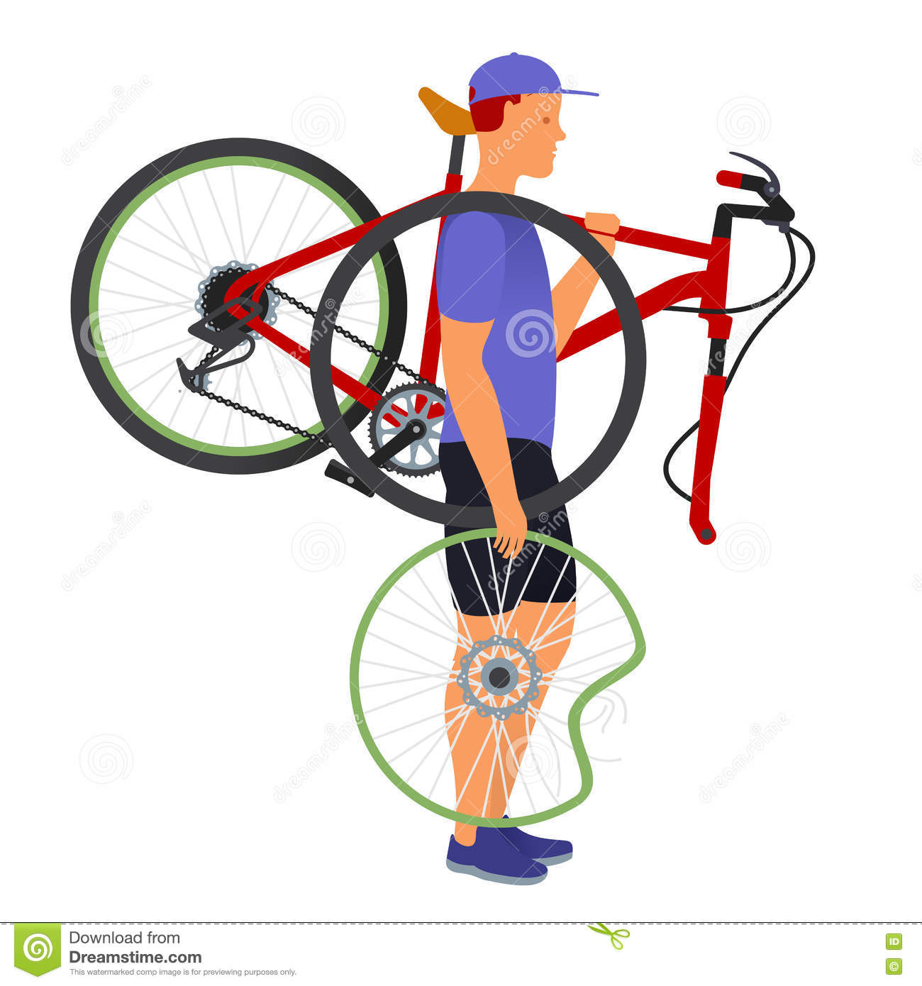 A Man Carries A Broken Bicycle And Wheel Stock Vector ...