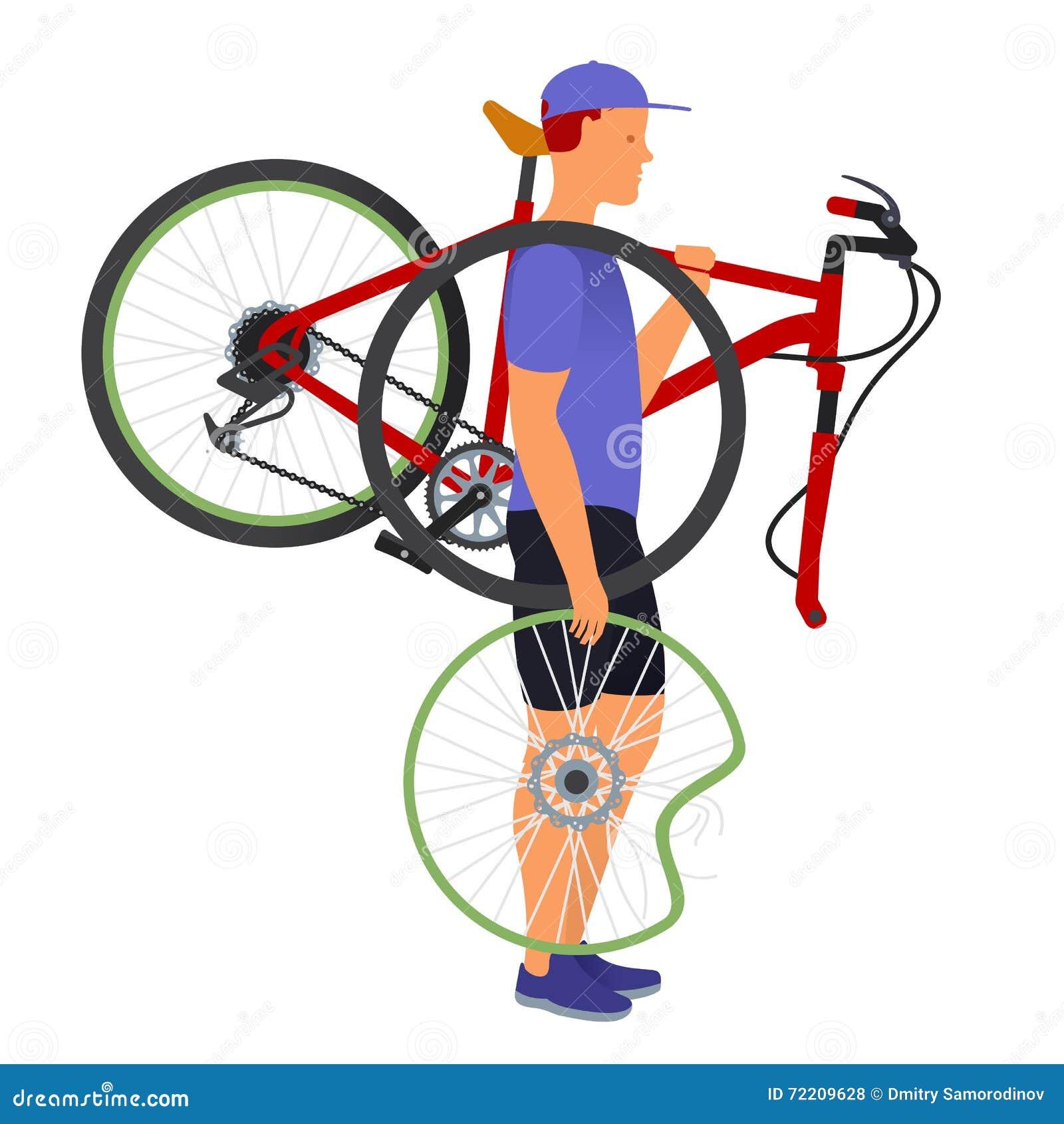 Broken Wheel Clip Art : A man carries broken bicycle and wheel stock vector