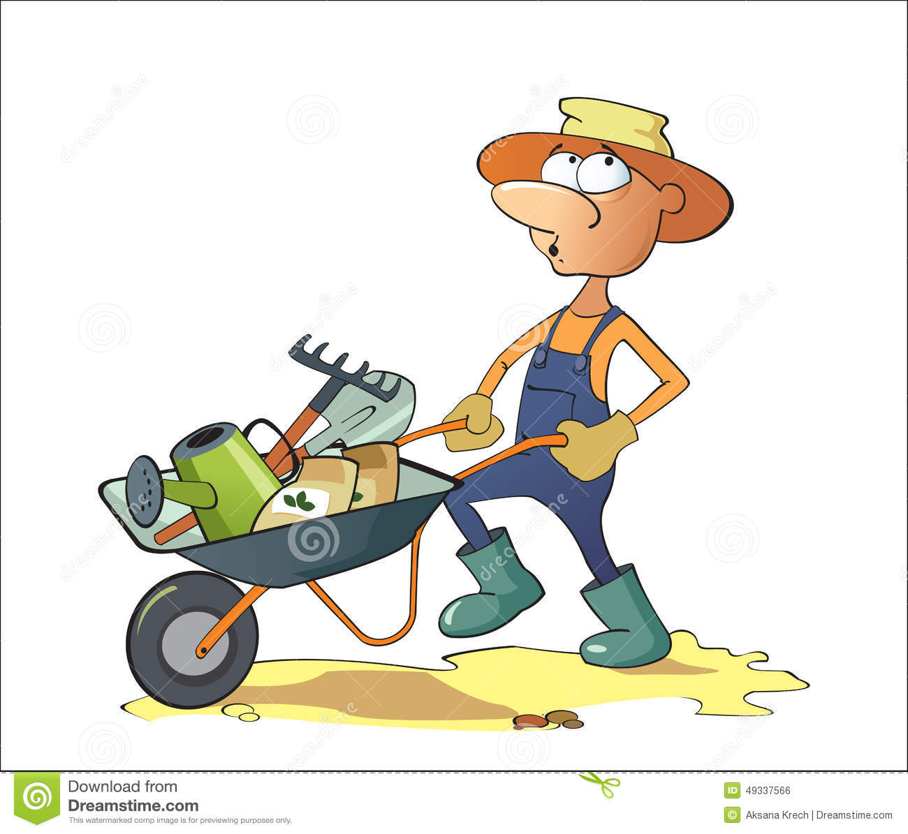 A man carries garden tools in a wheelbarrow stock vector for Entretien espace vert auto entrepreneur
