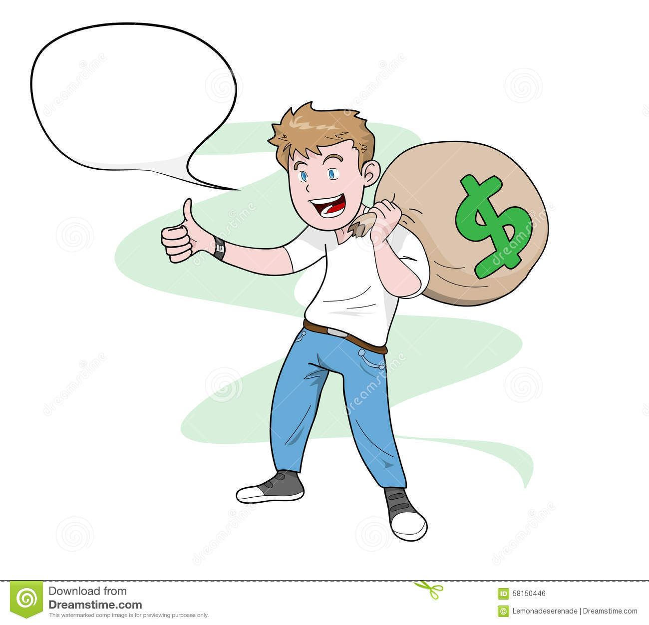Man Carrying A Bag Of Money Stock Vector Illustration Of People Discount 58150446