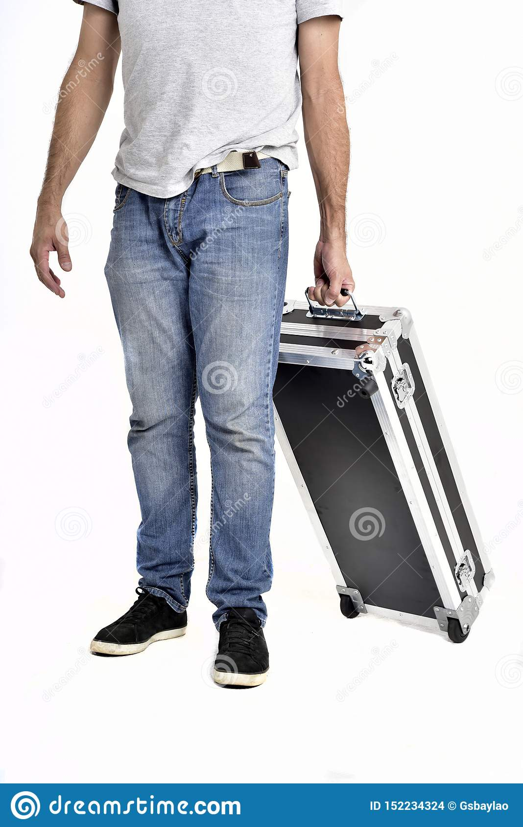 Man carrying black briefcase on white background