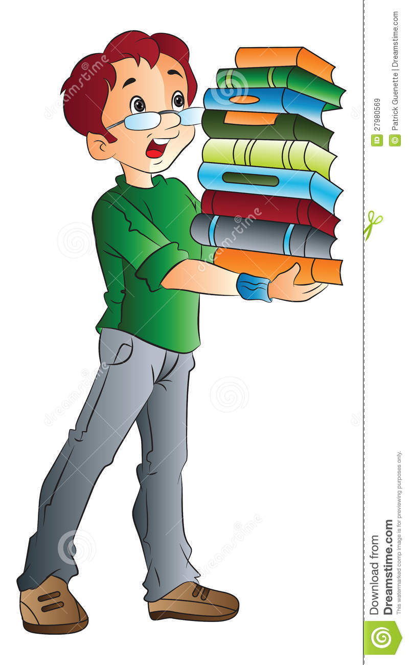 man carrying books illustration stock illustration