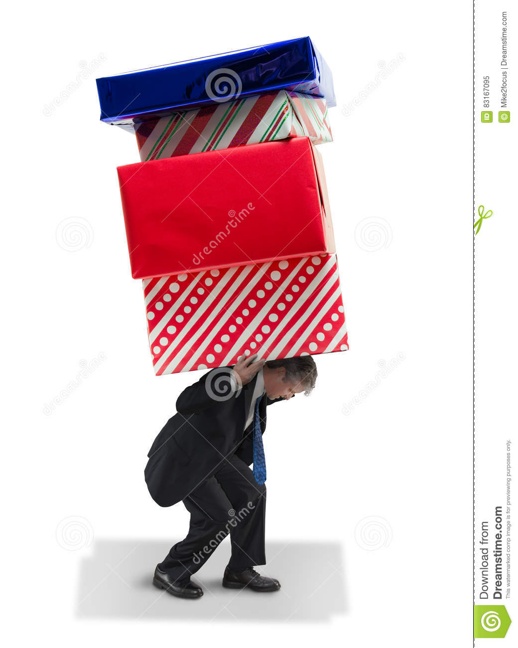 man carrying giant gifts christmas and birthday financial burden and stress - Man Gifts For Christmas