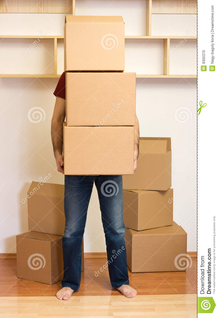 Man Carrying Lots Of Boxes Moving Concept Stock Photo