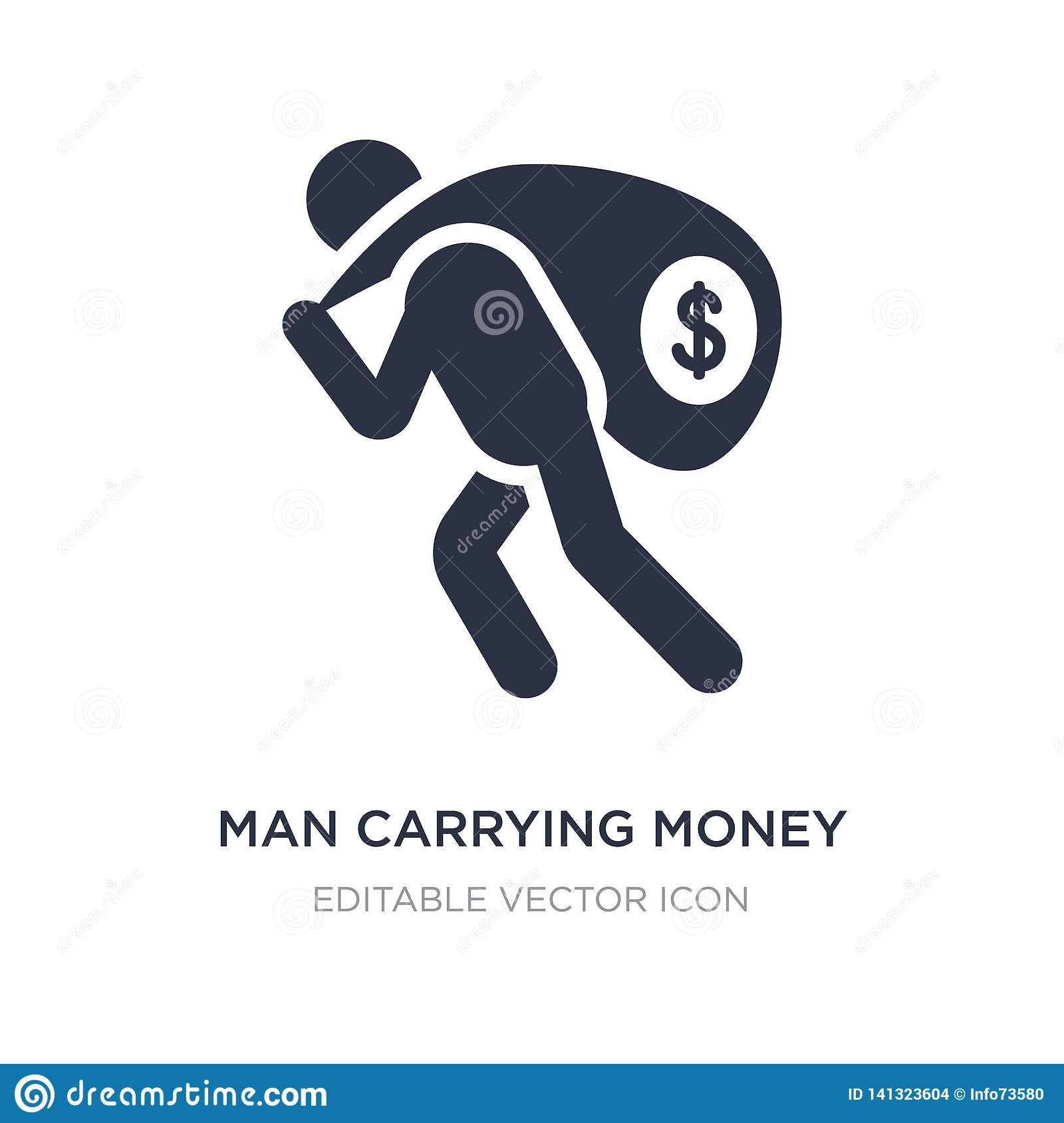 man carrying money icon on white background. Simple element illustration from Business concept