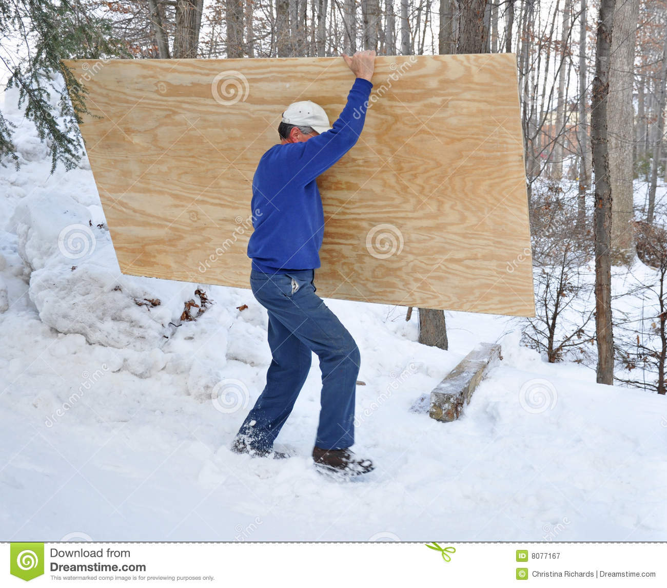 Man Carrying Plywood Through Snow Royalty Free Stock