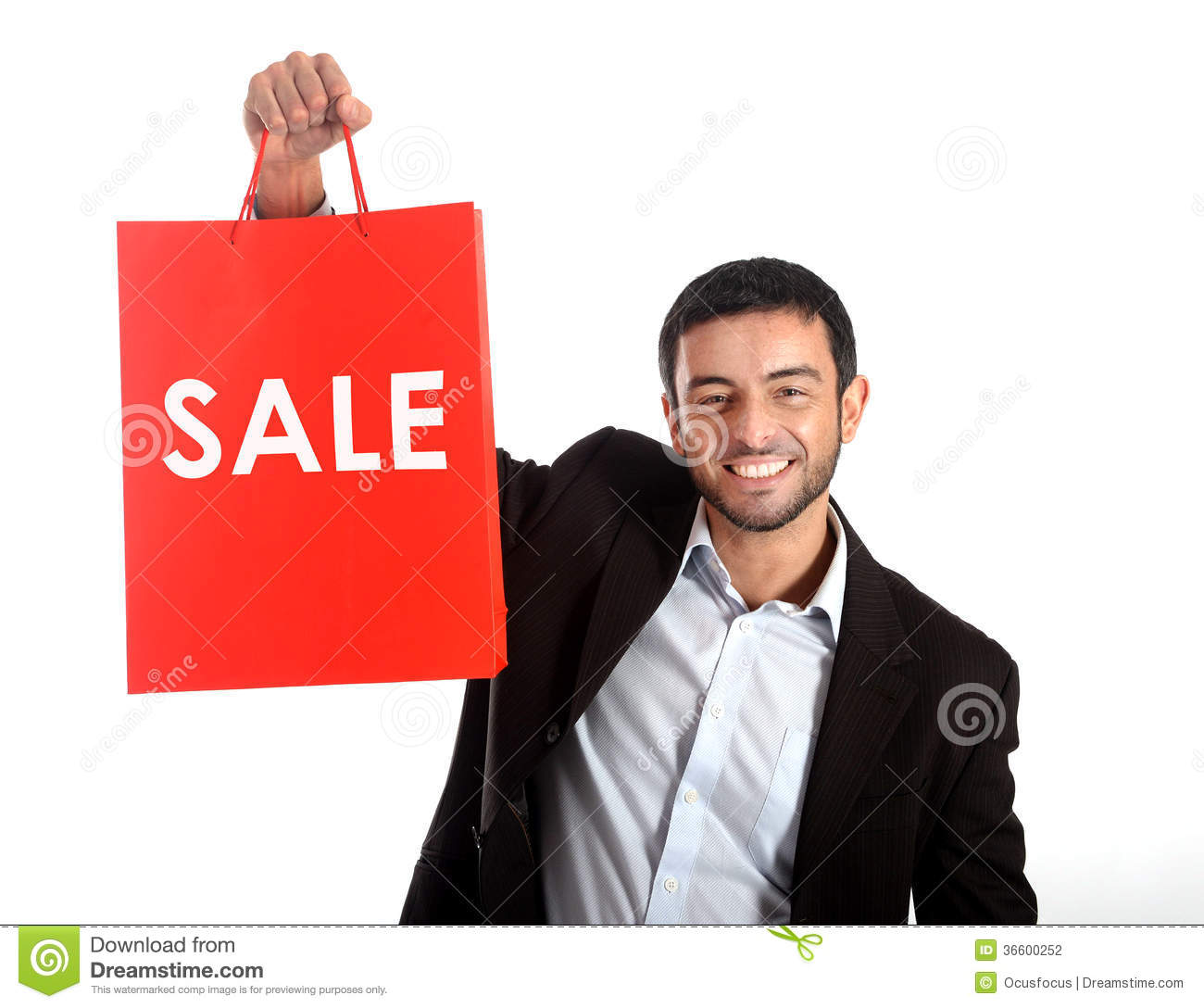 Man carrying a red sale shopping bag