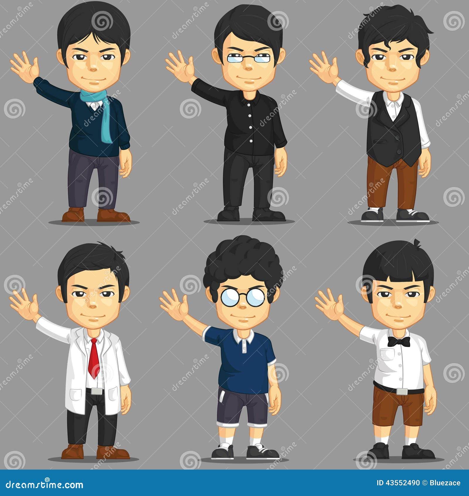 Cartoon Characters Clothes : Man cartoon character set stock vector image