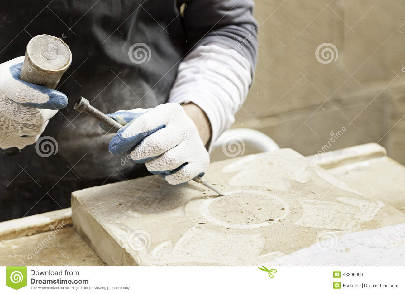 Where Are Craftsman Tools Made >> Man Carving Stone Stock Photo - Image: 43396000