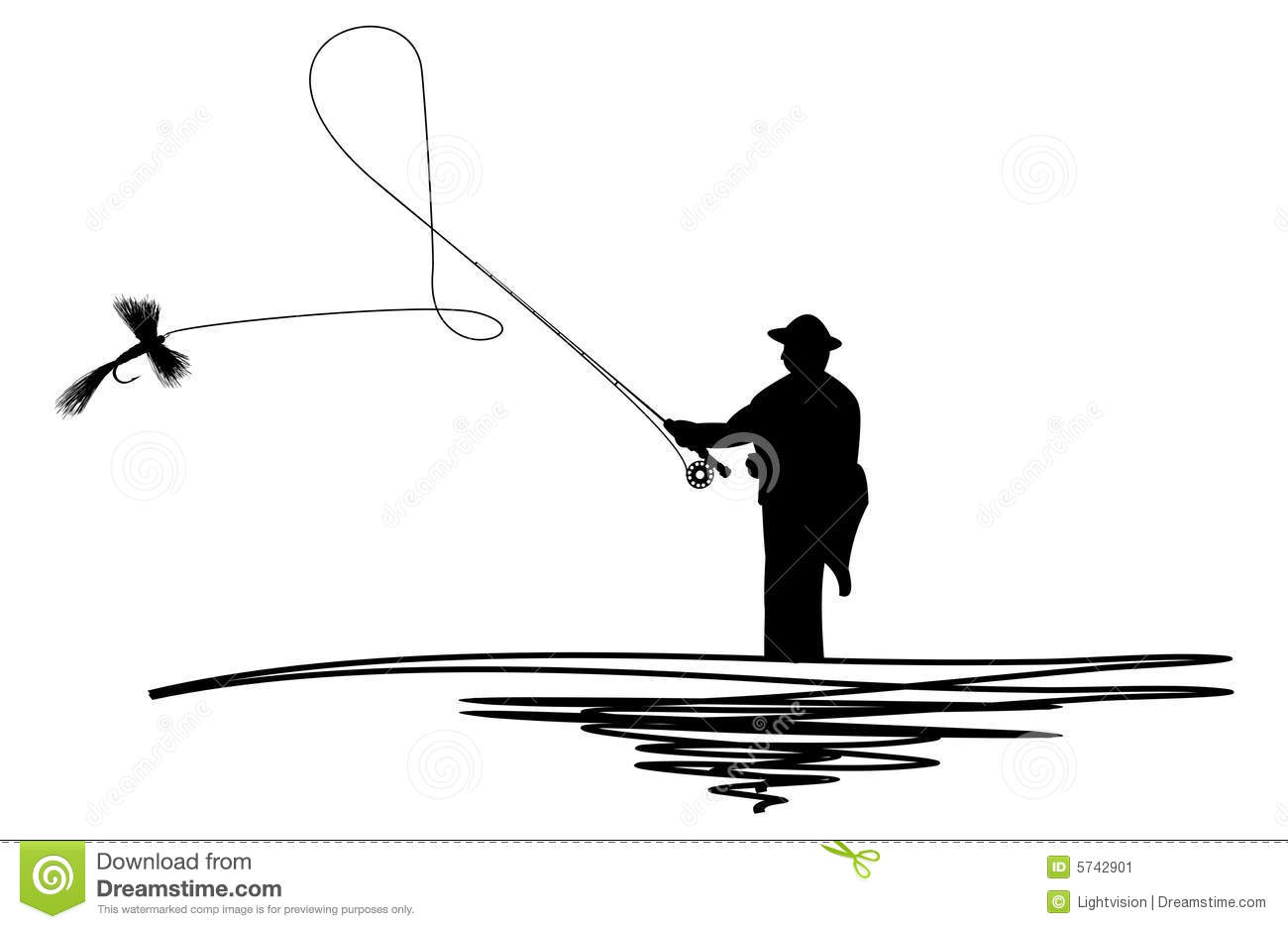 Cartoon illustration of a silhouetted man casting a fishing fly.