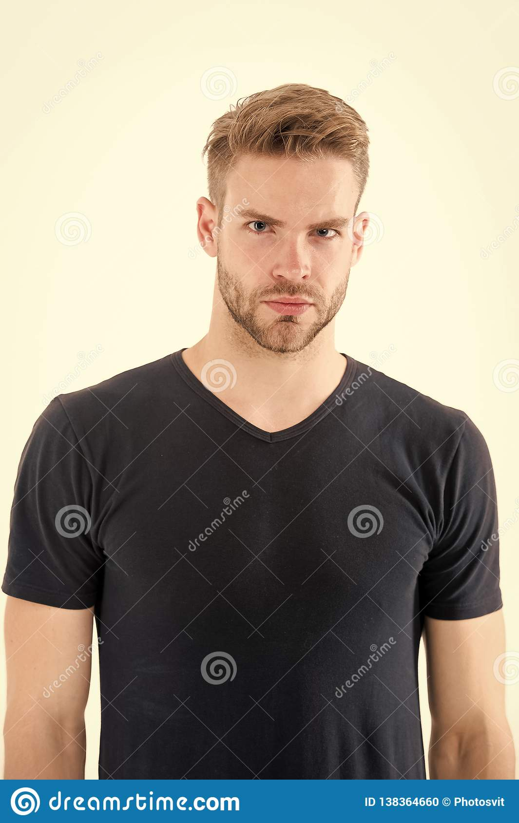 Groovy Man In Casual Tshirt Isolated On White Guy With Beard On Unshaven Schematic Wiring Diagrams Phreekkolirunnerswayorg