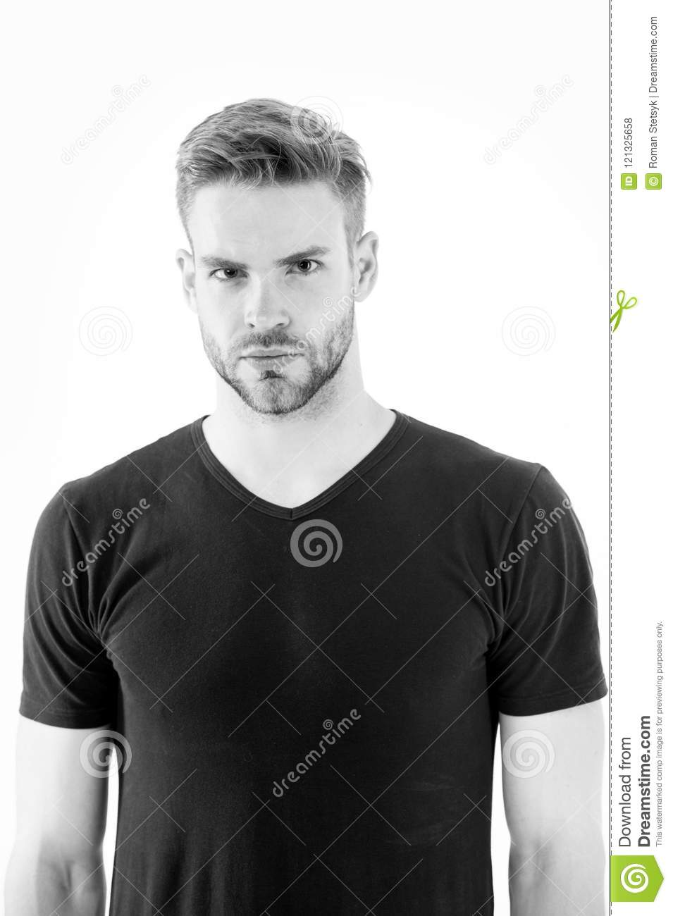 Man In Casual Tshirt Isolated On White Guy With Beard On Unshaven Face Bearded Man With Blond Hair Hair Care In Stock Photo Image Of Handsome Attraction 121325658