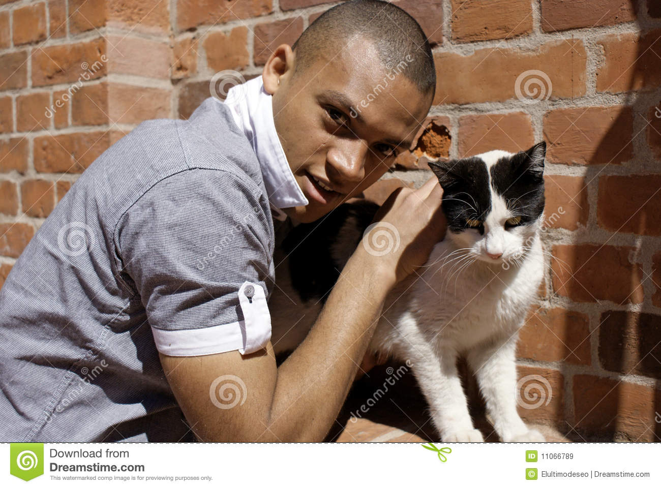 Man With Cat Royalty Free Stock Images Image 11066789