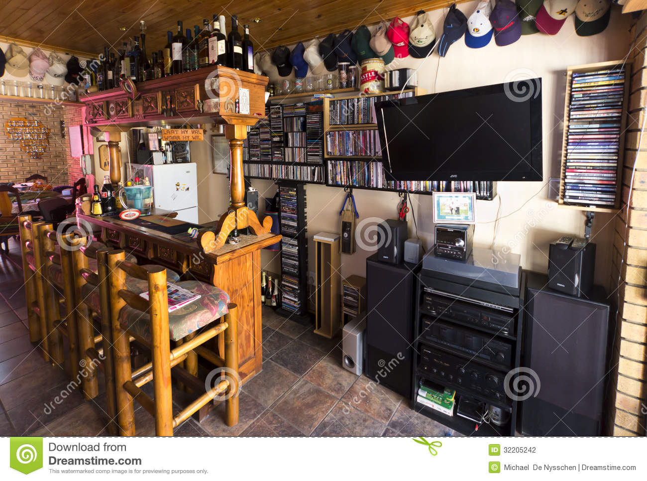 Man Cave Drinks Bar : Man cave or bar area editorial photography image