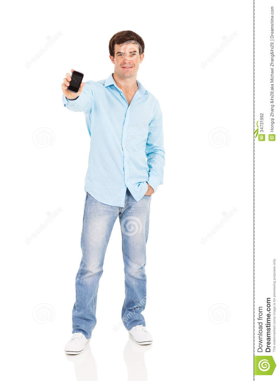 Man On Cell Phone : Man cell phone stock photography image